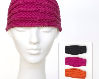 Knit headband, hand knit headband, rib headband, wide headband, ear warmers, 3 colours to choose from, women's hairband + charity donation