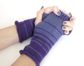 Hand knit wrist warmers, knit fingerless gloves, striped gloves, wool gloves, boho gloves, hand warmers, hand knit gloves, charity donation