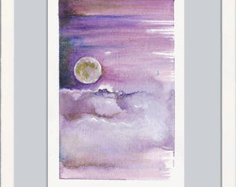 Small painting, miniature painting, tiny art, original painting drawing, tiny treasure, signed original, moon painting, cloud, free shipping