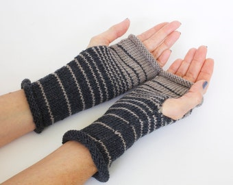 Striped gloves, hand knit wrist warmers, knit fingerless gloves, wool gloves, boho gloves, hand warmers, hand knit gloves, charity donation