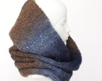Hand knit cowl, chunky hand knit infinity scarf, Soft light mohair/wool/acrylic blend, blue and tan with subtle gradation + charity donation