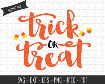 Trick or Treat SVG, Candy Cut File, Trick or Treat Candy, Halloween SVG, Halloween Cut File, Halloween Clip Art, Commercial SVG, Candy Corn
