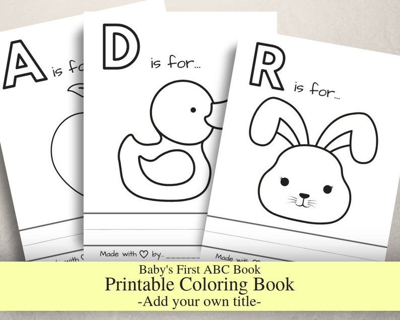 picture regarding Abc Book Printable identify Babys Initial ABC Guide with no les, Little one Shower Sport, Coloring Reserve, Printable PDF, Letter Sizing, Prefilled Coloring webpages