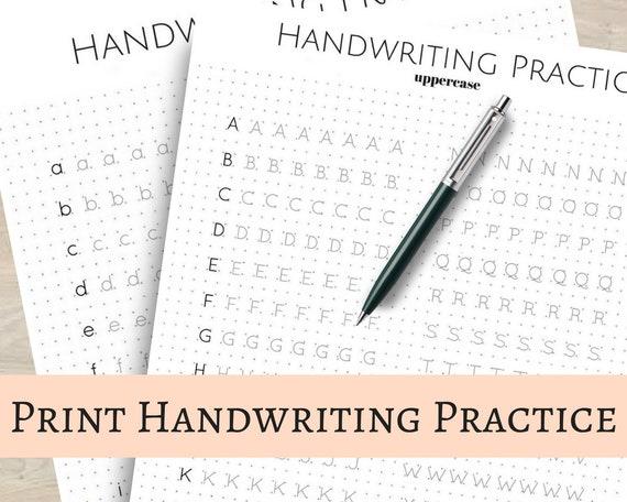 Print Handwriting Practice Sheets 5mm Dot Grid For Bullet Etsy