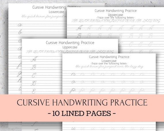 Cursive Handwriting Practice on Lined Paper, Letter Size and A4