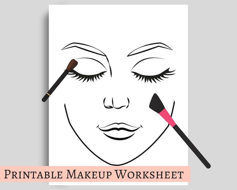 Makeup Template Worksheet For Portfolios Or Hobby Printable Etsy