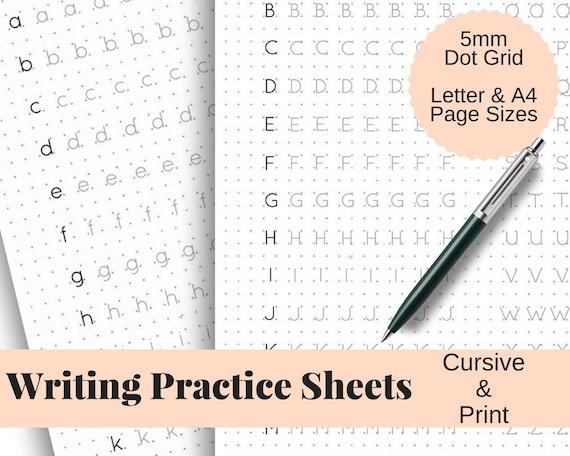 Handwriting Practice Sheets Cursive And Print 5mm Dot Grid Etsy