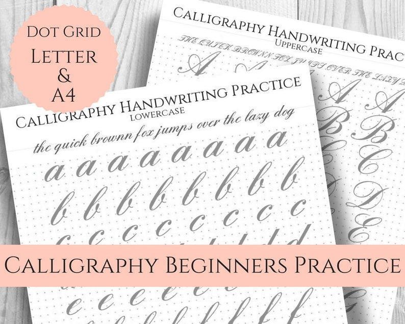 graphic relating to Calligraphy Letters Printable referred to as Calligraphy Handwriting Coach Sheets, Simple enormous print, Dot Grid for Bullet Magazine, Uppercase, Lowercase, Printable