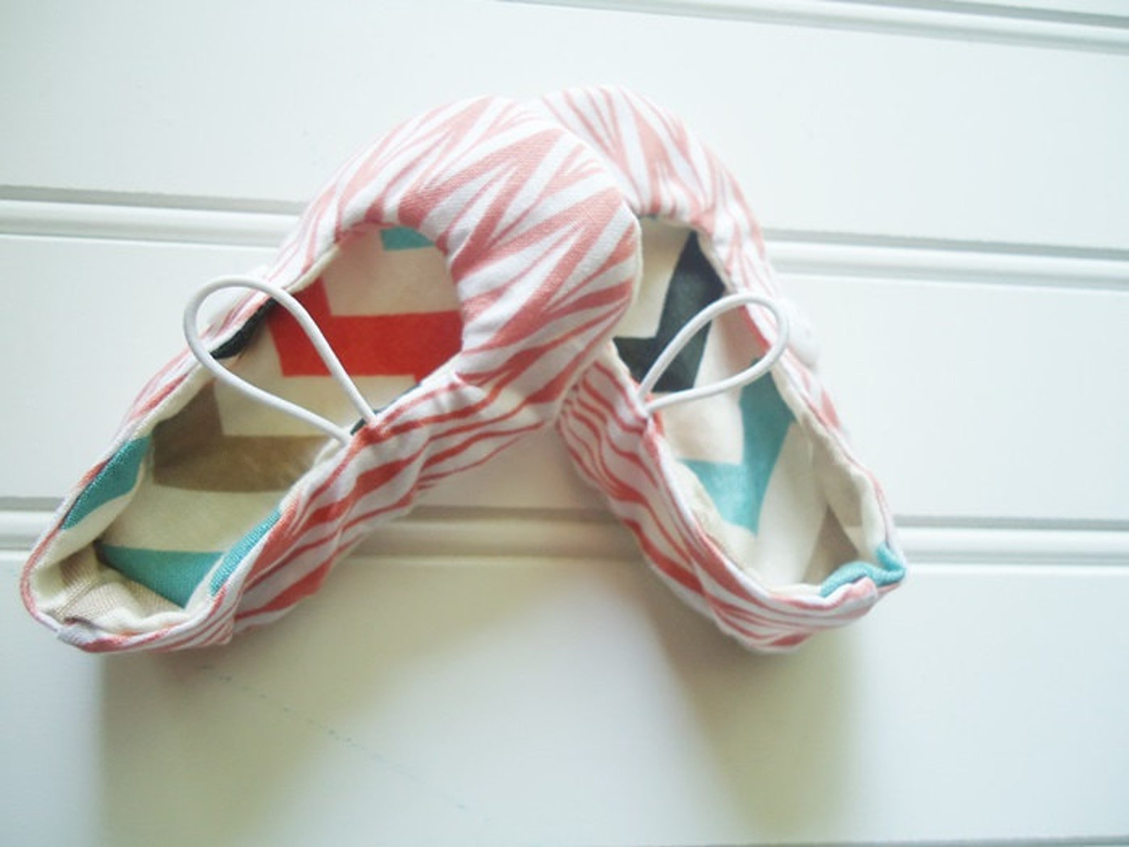 ballet flat slippers - coral geo stripes {size newborn}
