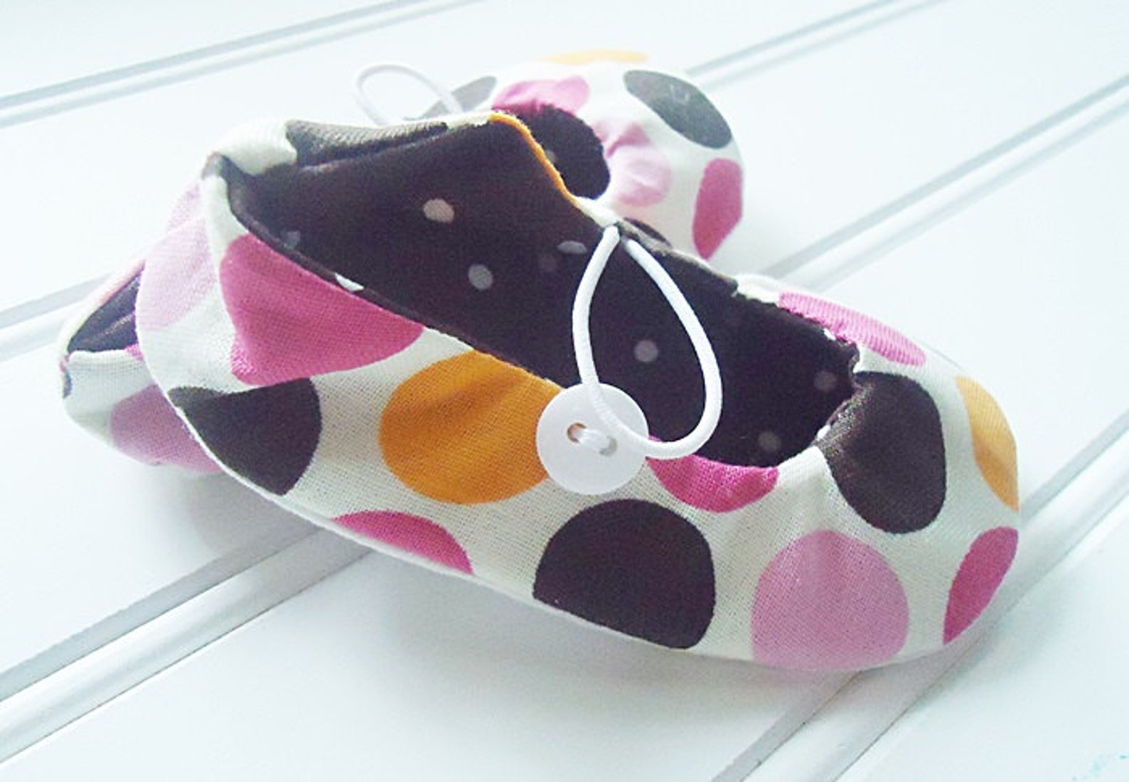 ballet flat slippers - pink and brown dot {size 3 months}