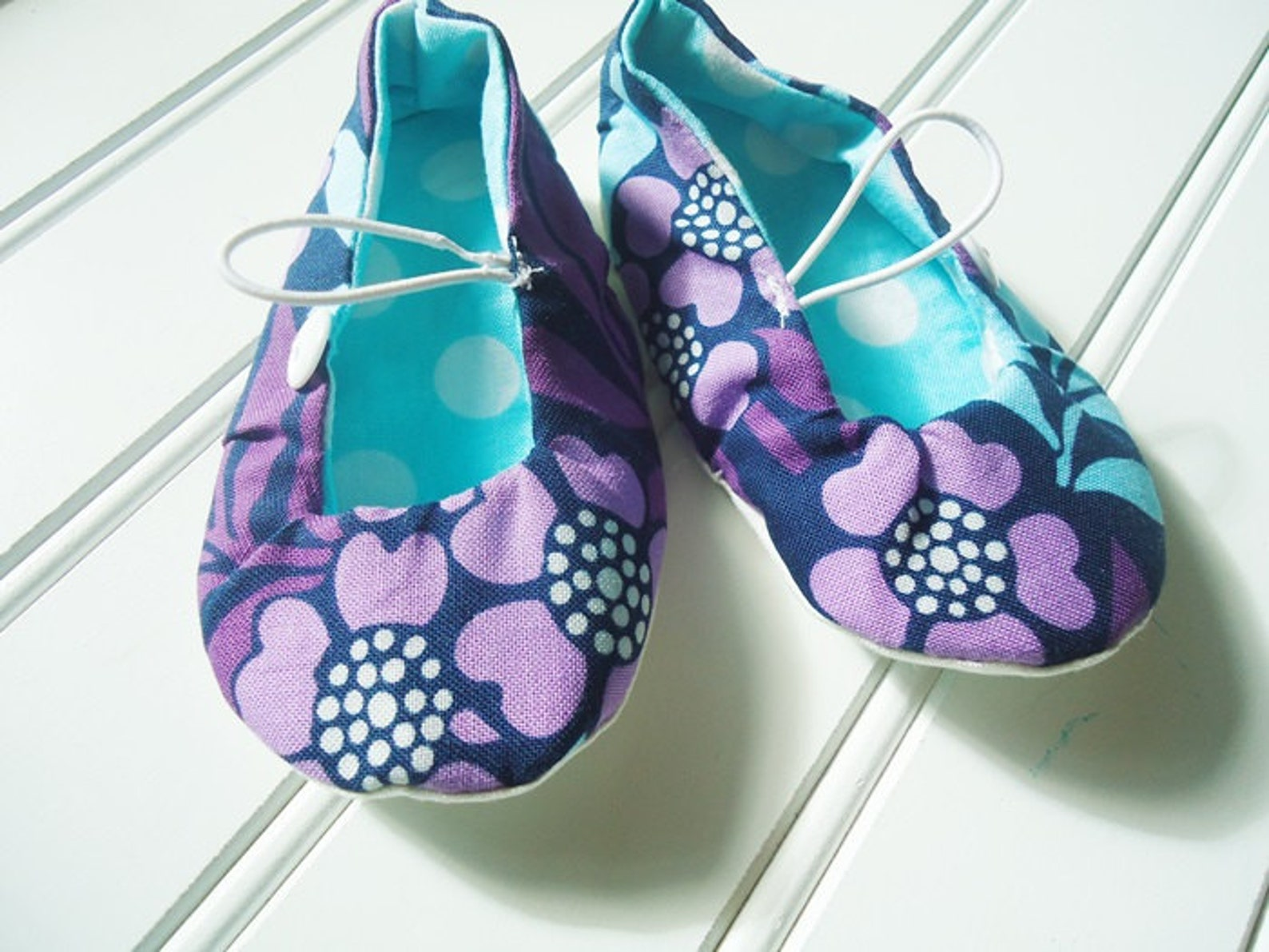 ballet flat slippers - purple and blue floral {size 6 months}