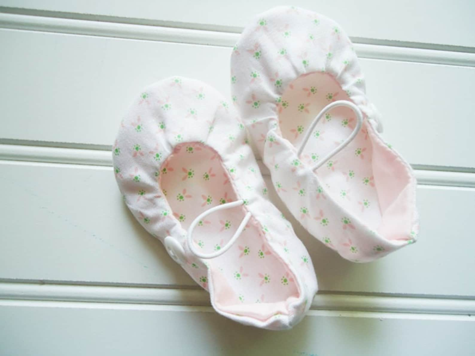 ballet flat slippers - delicate pink floral {size newborn}