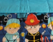 Doctor, police, fireman childs quilt childs, baby quilt, toddler quilt, crib quilt, handmade quilt, nursery