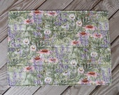 Garden fabric placemats, quilted placemats, handmade placemats, floral and herb placemats, table decor gift, set of 8