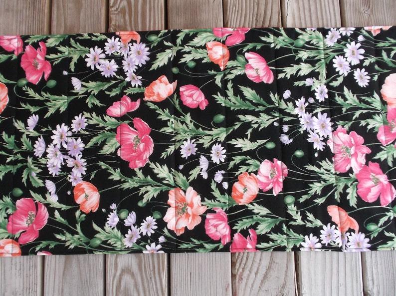 Poppies table runner sideboard runner 73 inches handmade table runner quilted fabric runner poppy print