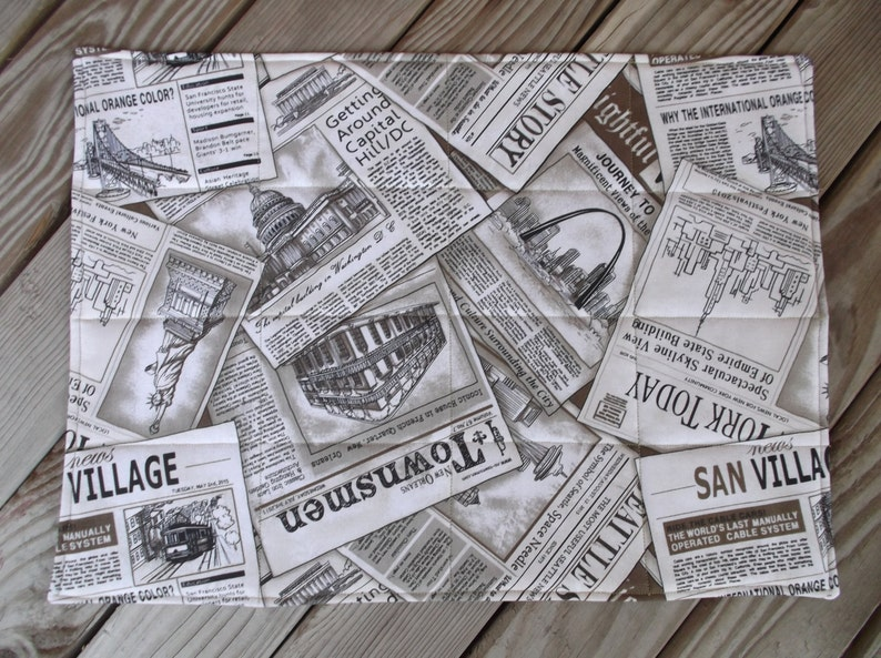 handmade placemats table decor gift set of 8 quilted placemats Sepia newspaper fabric placemats
