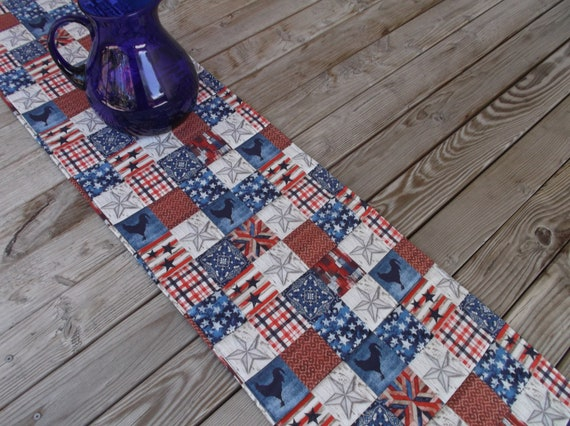 Patriotic Farm Quilted Fabric Table Runner or Sideboard Runner 70 inches