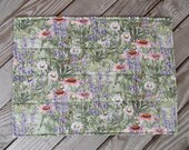 Garden fabric placemats, quilted placemats, handmade placemats, floral and herb placemats, table decor, set of 8