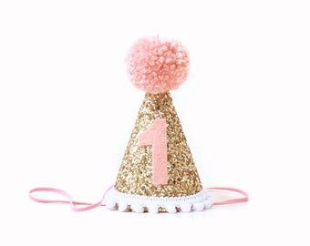 First Birthday Girl Party Hat Blush Pink Gold