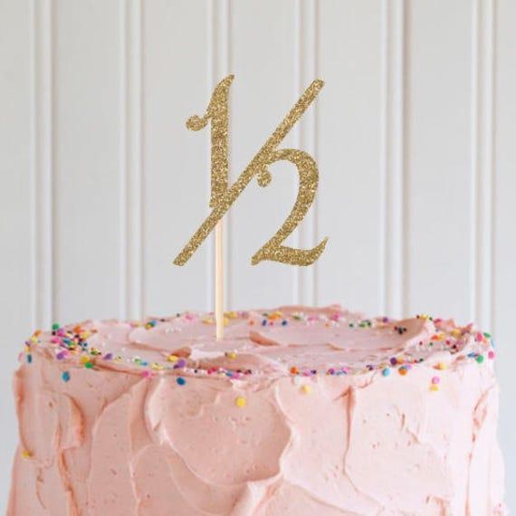 Half Birthday Cake Topper Gold Glitter Smash 1 2