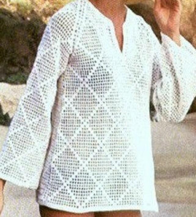 Patron de crochet 1970s pdf de tejido top blusa para la playa | Etsy