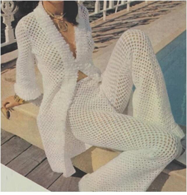 Patron pdf de tejido en crochet top blusa bluson y pantalones | Etsy