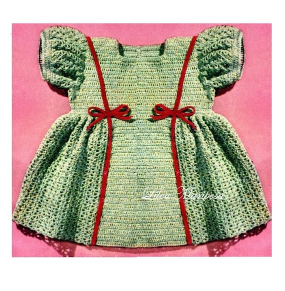 Crochet Dress Pattern Vintage 40s Baby Girl Dress Pattern Etsy