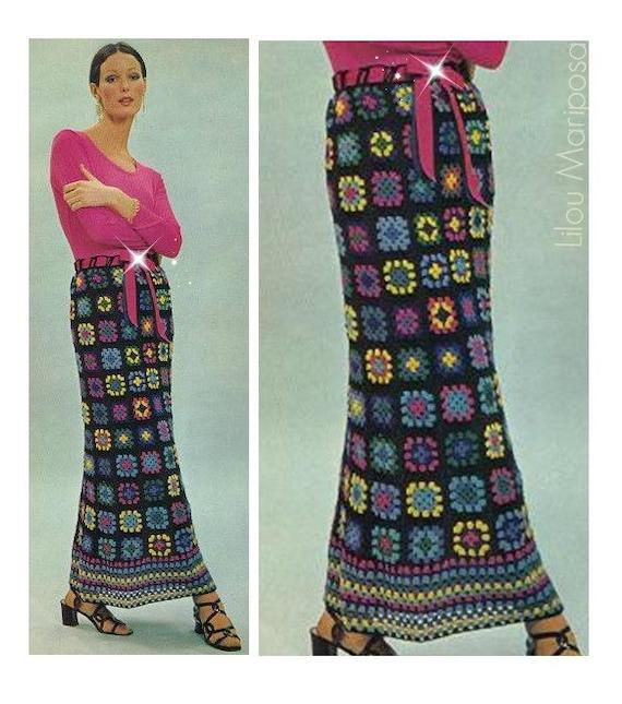 Patron pdf de tejido en crochet falda maxi larga de cuadros   Etsy