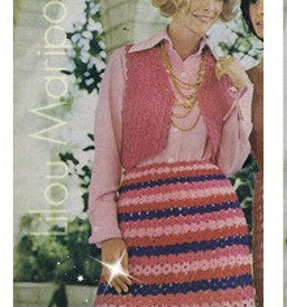 Patron 70s pdf de tejido en crochet falda y bolero | Etsy