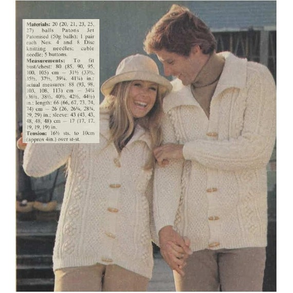 Knitting Sweater Patterns Vintage 70s Knit Cardigan Pattern Etsy