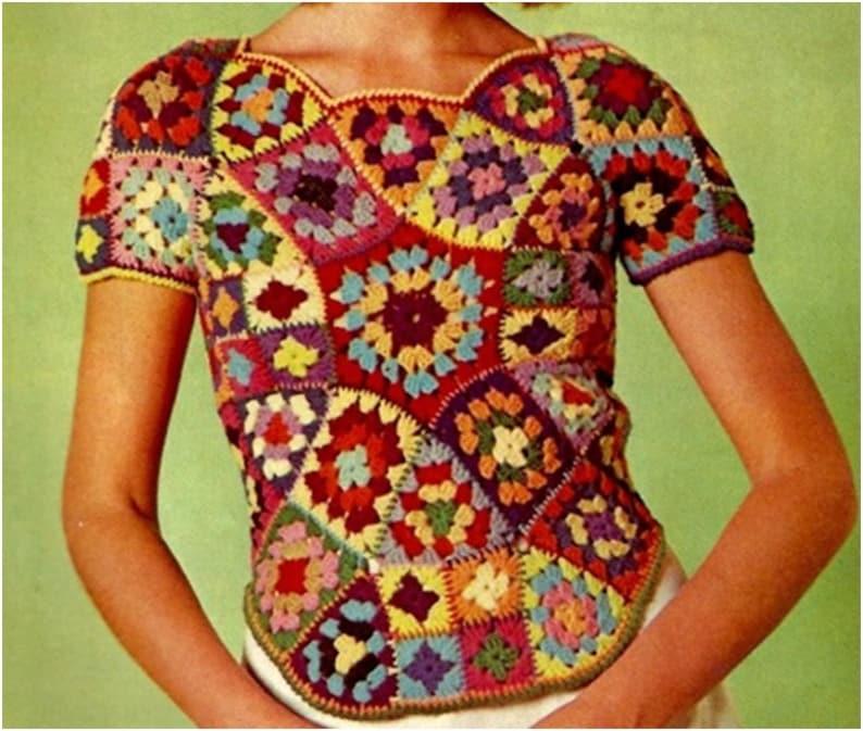 Crochet TOP Pattern Vintage 70s Crochet Granny Square Top image 0