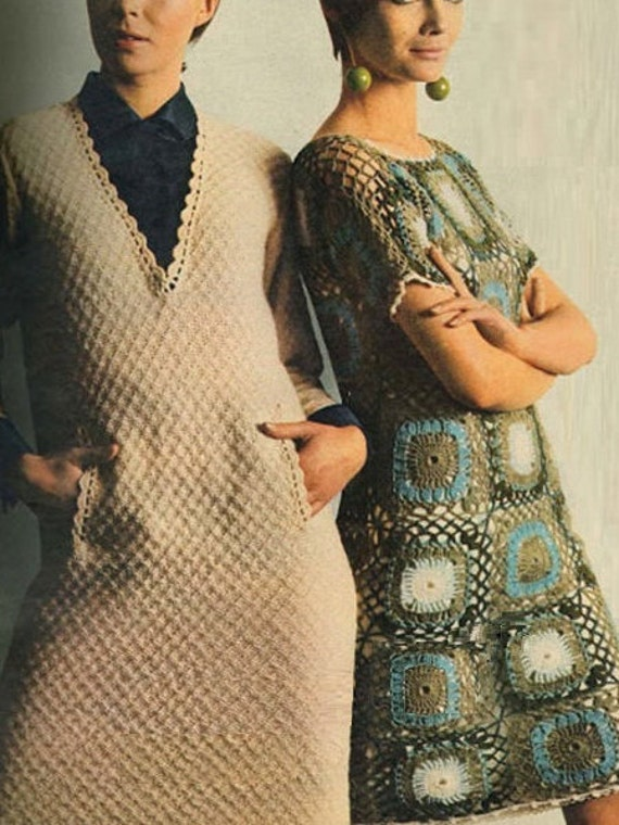 59848532a2e4 Crochet Designer Dress Pattern Vintage 70s Crochet Motif Dress | Etsy