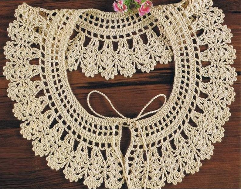 Crochet Collar Pattern Vintage 70s Crochet Neckline Collar Etsy