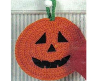 Crochet Halloween Pumpkin Potholder Pattern Crochet Pumpkin Potholder Pattern Crochet Halloween Potholder Pattern Vintage 70s