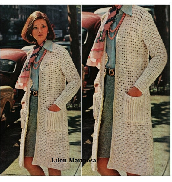 Crochet CARDIGAN Pattern Vintage 60s Crochet Coat Top Crochet Etsy Classy Crochet Long Cardigan Pattern