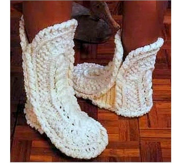 Crochet Slippers Pattern Vintage 70s Boots Slipper Pattern Etsy