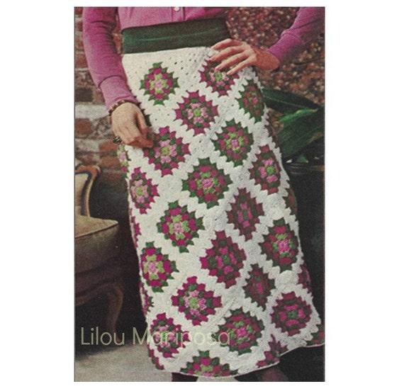 Patron 70s pdf de tejido en crochet falda de cuadros motivos   Etsy
