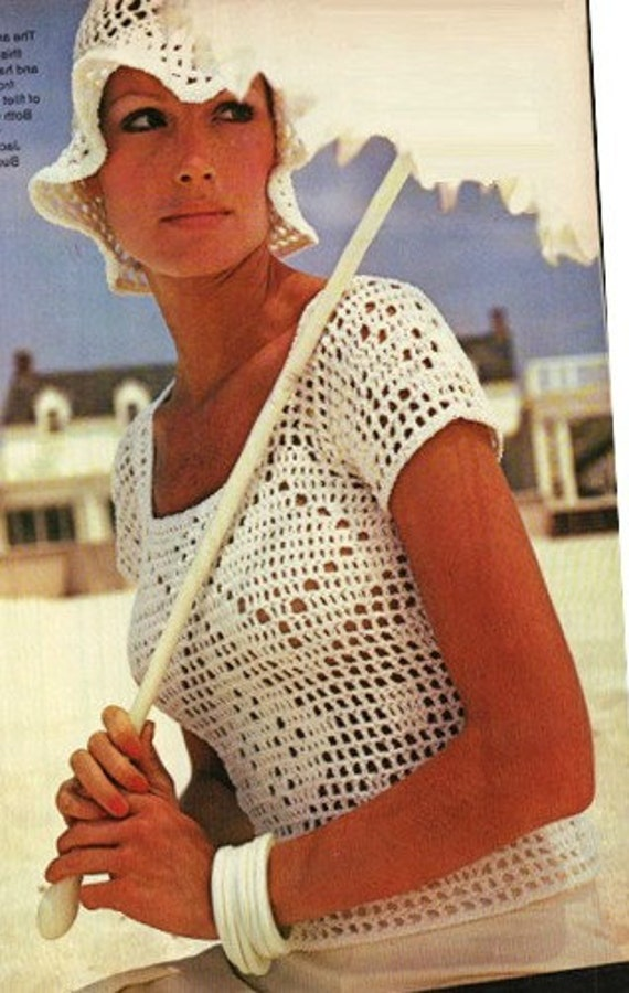 Crochet Top Pattern Vintage Filet Crochet Blouse And Crochet Etsy