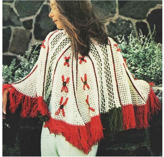 Patron pdf de tejido en crochet poncho sueter chal guantes | Etsy