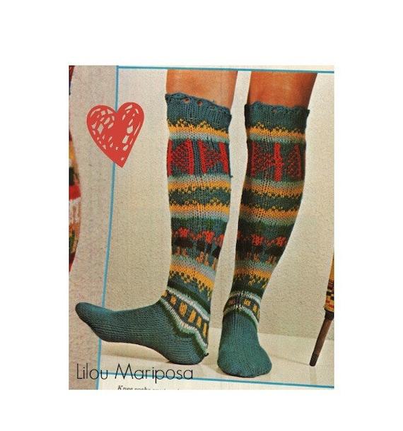 Socks Pattern Stocking Pattern Vintage 70s Boot Socks Pattern Etsy