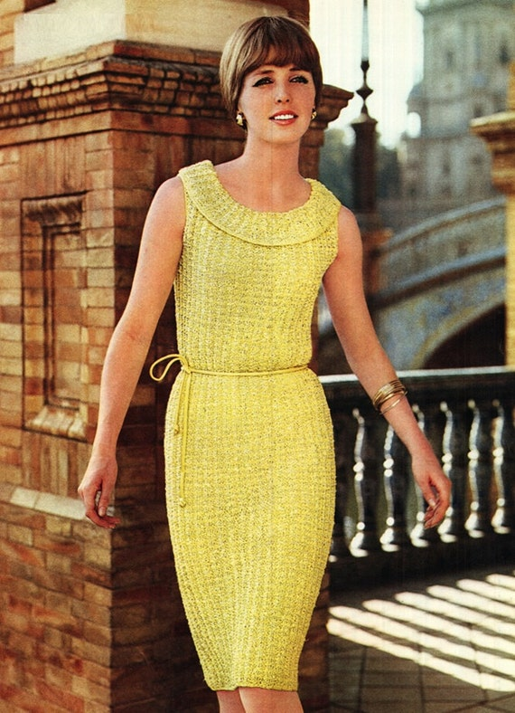 Dress Pattern Vintage 60s Knitted Dress Pattern Bridesmaid Etsy