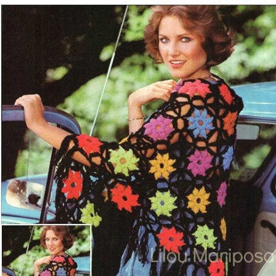 Patron pdf de tejido en crochet poncho rustico chal granny | Etsy