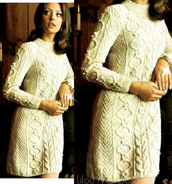 Knitting Dress Pattern Vintage 70s Sweater Dress Cable Dress Etsy