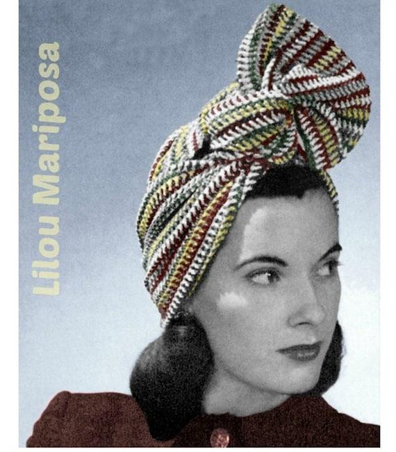 Crochet Striped Turban Pattern Vintage 40s Crochet Headband  b53cd6eba3b