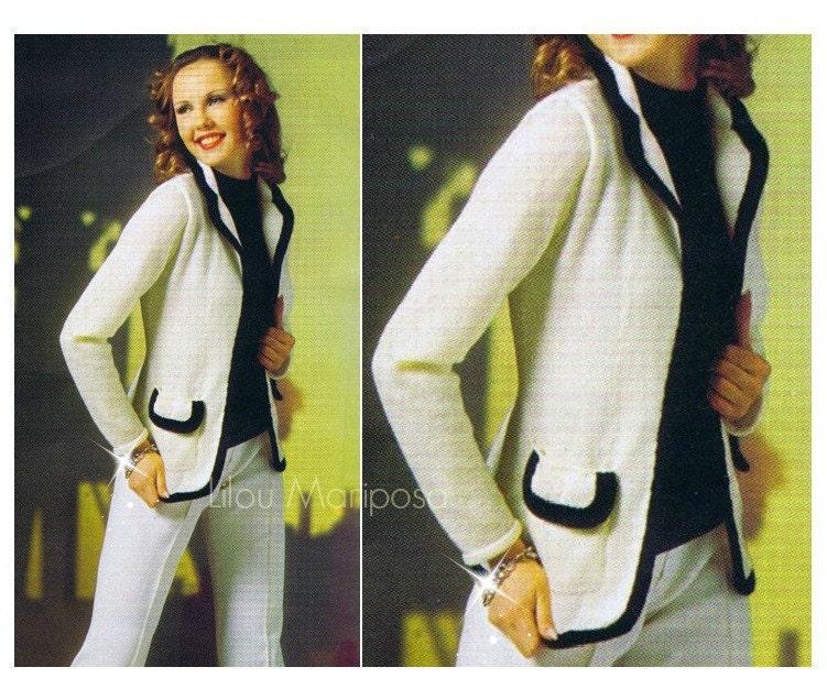 Patron de crochet - pdf de tejido en agujas saco, blazer, chaqueta a ...