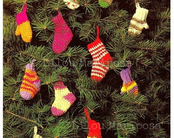 Crochet Stocking Pattern Crochet Mittens Pattern Crochet Christmas Ornament Crochet Mittens Ornament Crochet Ornament Crochet Pattern