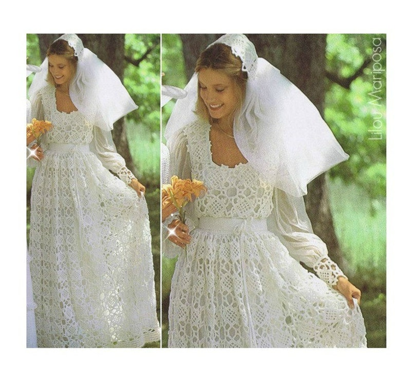 Crochet Wedding Dress.Crochet Wedding Dress Pattern Vintage 70s And Crochet Wedding Bridal Veil Pattern Bridal Gown Maxi Dress Bohemian Clothing Instant Download