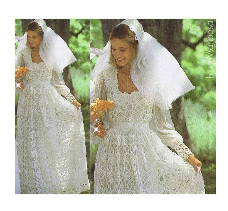 Crochet Wedding Dress Pattern.Crochet Wedding Dress Pattern Vintage 70s And Crochet Wedding Bridal Veil Pattern Bridal Gown Maxi Dress Bohemian Clothing Instant Download