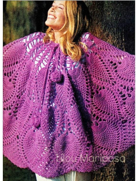 Patron pdf de tejido en crochet falda poncho patron de 1970s   Etsy