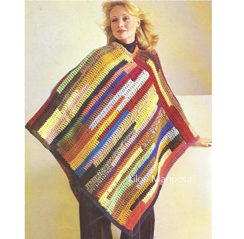 59e3edc27 Crochet Shawl Pattern Vintage 70s Easy Crochet Poncho Pattern | Etsy